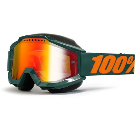 100% Accuri Gun Metal Snow Goggle Red Mirror Lens