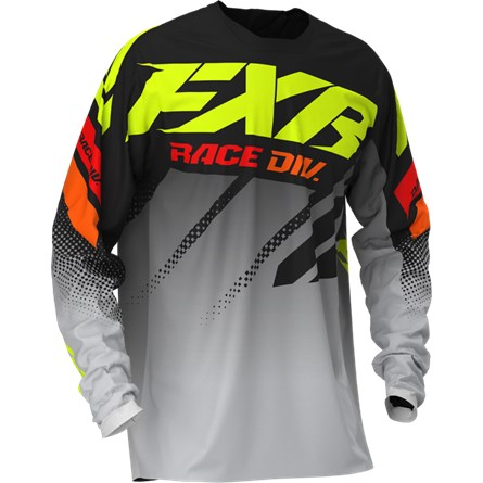 FXR Youth Clutch MX Jersey Black/Grey Fade/Hi Vis/Red 2020